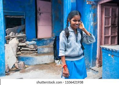 Bundi, Rajasthan, India. December 1, 2010.  Unidentified schoolgirl  goes to school. Bundi, Rajasthan, India