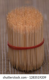 bundle of bamboo toothpicks for the dental care and teeth cleaning