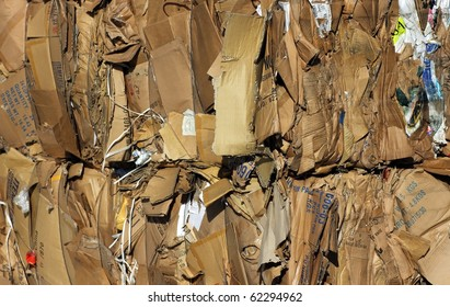 Bundle of cardboard at recycling centre