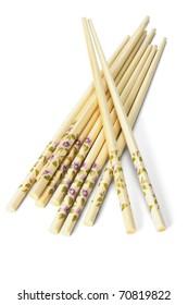 Bundle of Chinese bamboo chopsticks on white background