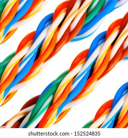 Bundle of colorful network electrical cables background