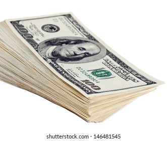 Bundle of dollar banknotes isolated over white background