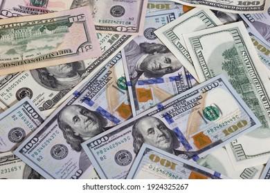 Bundle of dollars on the table close-up, one hundred dollars washington, one thousand - texture, background