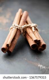bundle of dried cinnamon sticks