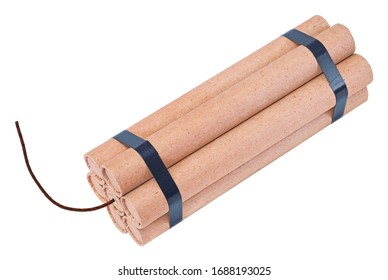 A bundle of dynamite with a fuse cord, isolated on white background