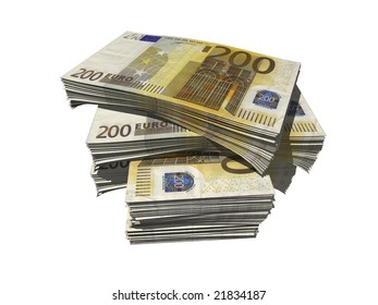 a bundle of euro notes isolated over white background