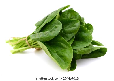a bundle of fresh spinach on white background