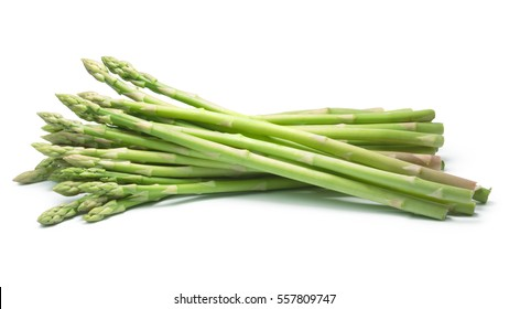 Bundle of green asparagus shoots (Asparagus officinalis). Clipping paths, shadow separated