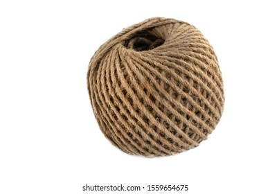 Bundle of hemp rope isolated on white background. Hemp rope is a natural material for handcraft or handwork. A natural fiber material is old but eco-friendly. AKA, manila fiber. Eco packaging concept.
