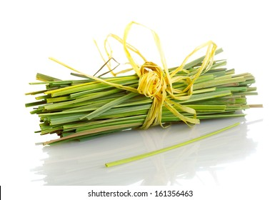 Bundle of lemon grass isolated on white background