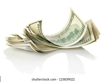 Bundle of money isolated on a white background