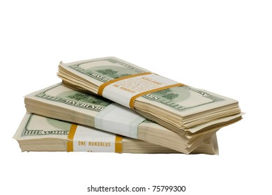 a bundle of money on a white background