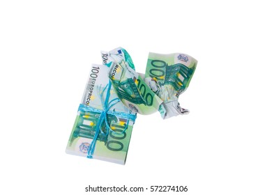 a bundle of money tied with a rope.Isolated on white.