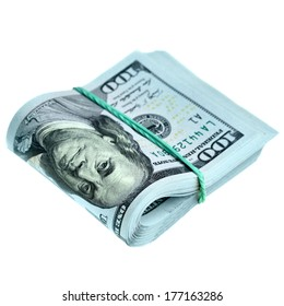 Bundle of new hundred dollar bills isolated over the white background