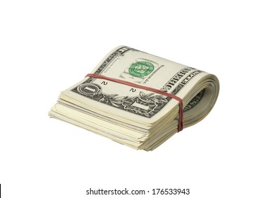 Bundle of one dollar notes with red rubber band isolated on white background