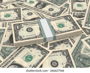 Bundle of one dollars bank notes on the background.  3D illustration.