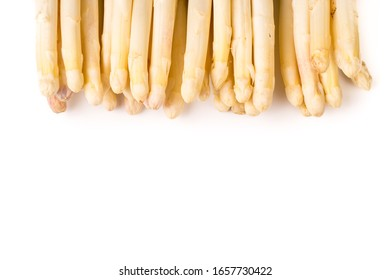 bundle of organic asparagus isolated on white background