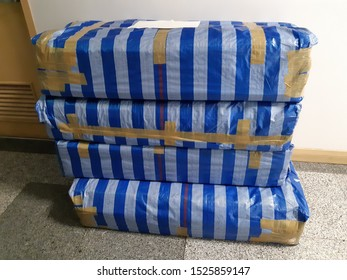 Bundle package is made of plastic canvas, rewound with adhesive tape, with a place for white tag