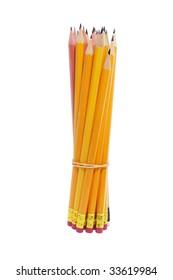 Bundle of Pencils on White Background