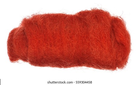 a bundle of red wool for felting closeup on isolated white background