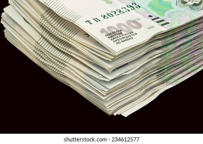 A bundle  of Russian rubles on black background