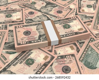 Bundle of ten dollars bank notes on the background.  3D illustration.
