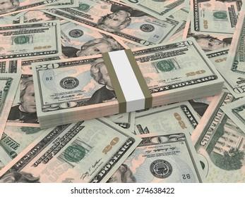 Bundle of twenty dollars bank notes on the background.  3D illustration.