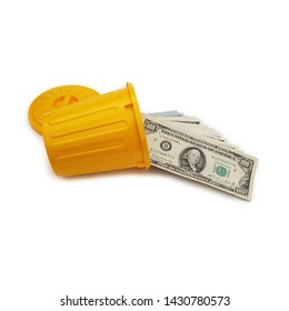 Bundle Of US $100 Bills Spilling Out Of Yellow Trash Can Container Isolated Over White Background