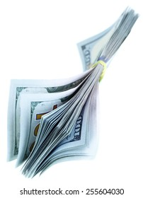 Bundle of US dollars isolated over the white background