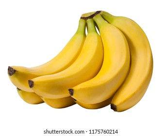 A bundle of yellow bananas on white background.