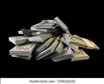 A lot of bundles of american dollars, on a black background. A bunch of one hundred dollar bills, packed in packs of ten thousand. Concept: million, wealth, financial success