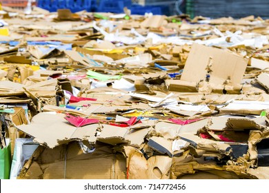 Bundles of cardboard to be recycled. Cardboard is bundled into bales. Scene is outdoors on a sunny day.