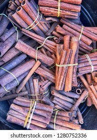 Bundles of cinnamon bark are on display at a spice market in the Marrakesh souq in Morocco.