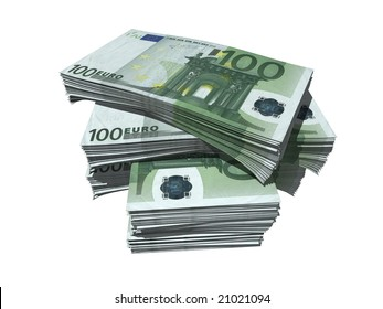 bundles of euro notes isolated over white background