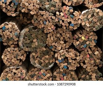 Bundles of hardwood mouldings