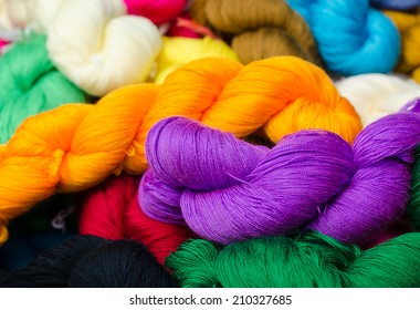 Bundles of home made colorful thread.