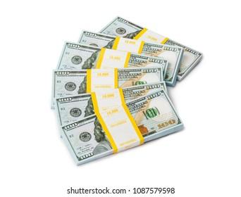 Bundles of money isolated on white background