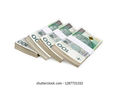 Bundles of polish 100 zloty banknotes. Isolated on white. Path included.