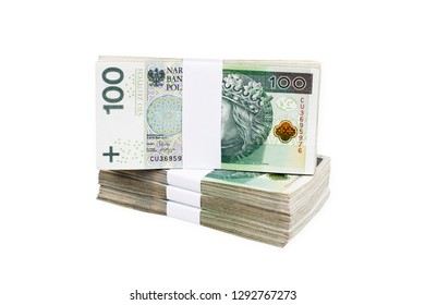 Bundles of polish 100 zloty banknotes. Isolated on white. Clipping Path included.