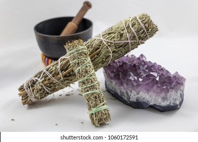 Bundles of Sage with Beautiful Amethyst Crystal and a Singing Bowl