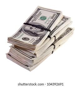 bundles of US dollars bank notes. Isolated on white background