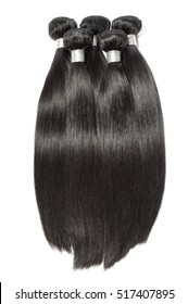 Bundles of virgin remy straight long black human hair weave extensions