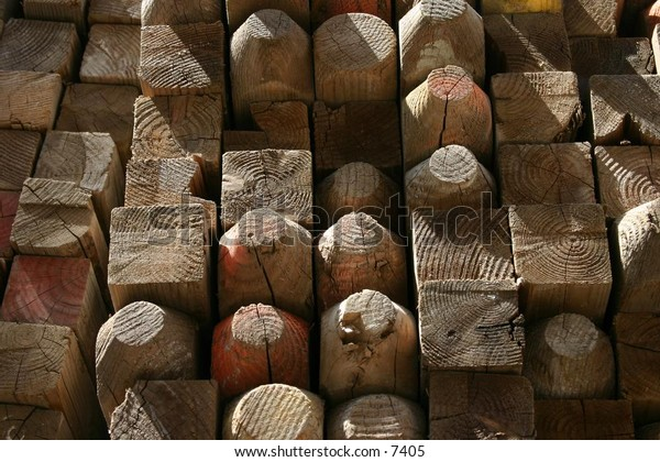 bundles of wooden posts