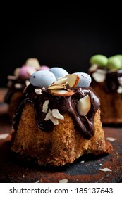 Bundt cake with chocolate and easter decorations