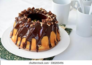 Bundt Cake with Chocolate Glaze and Nuts