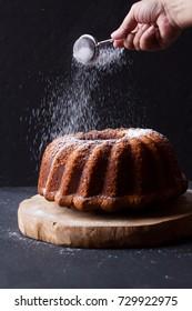 Bundt cake on a black background