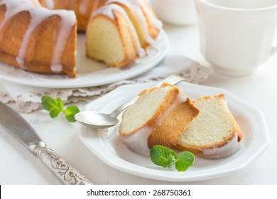 Bundt Cake  with Sugar Glaze on white background