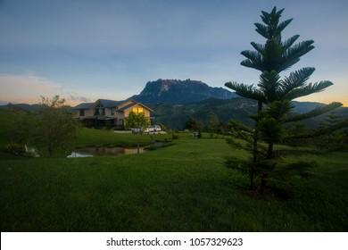 Bundu Tuhan, Ranau, Sabah / Malaysia - February 2018: Majestic view of Mount Kinabalu from Hounon Ridge Farmstay where you can feel peace and calmness at the homestay.