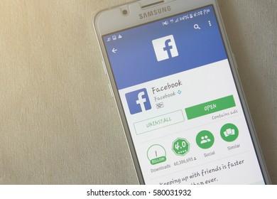 BUNG KAN, THAILAND - FEBRUARY 05, 2017: smart phone display facebook messenger app on table, closeup