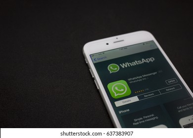 BUNG KAN, THAILAND - MAY 06, 2017: iphone display whatsapp app on apple app store, whatsapp icon focused